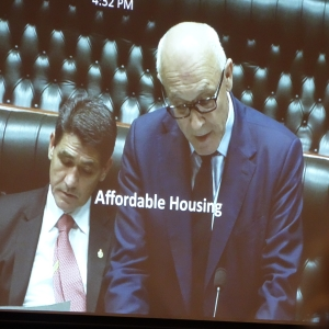 """Member for Epping, Damien Tudehope, read the petition, """"Right to Home""""."""