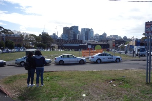 The fenced in Block against the City Skyline