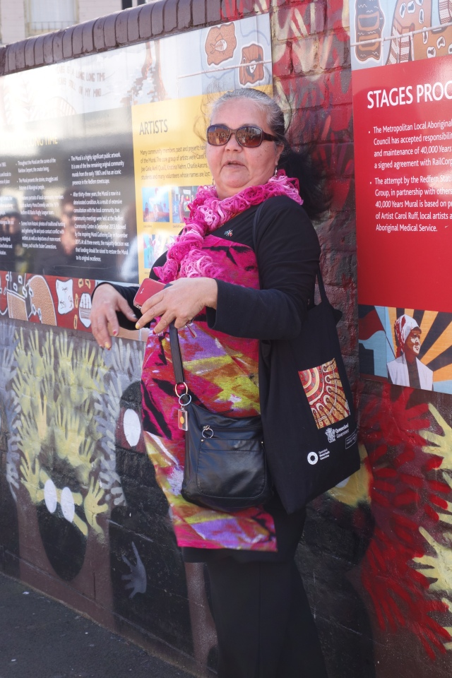 Aunty Donna Ingram at the '40,000 year' mural