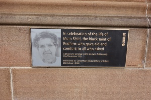 Plaque to Mum Shirl on the wall of St Vincent's, Redfern