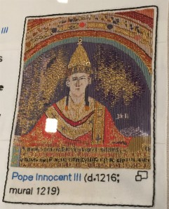 Embroidery of Innocent III detail in embroidery of Magna Carta. Artwork by Cornelia Parker.